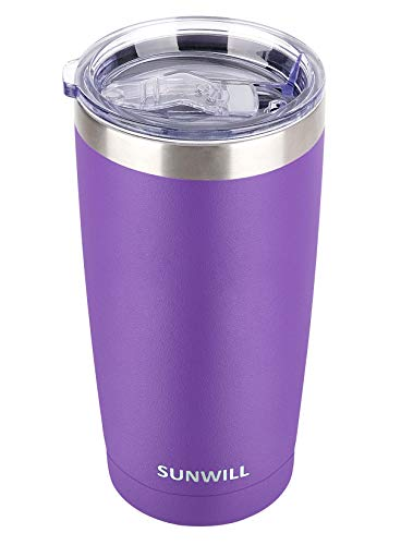 SUNWILL 20oz Tumbler with Lid Stainless Steel Vacuum Insulated Double Wall Travel Tumbler Durable Insulated Coffee Mug Powder Coated Purple Thermal Cup with Splash Proof Sliding Lid