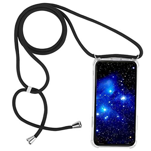 1stfeel Handykette kompatibel mit XiaomiMiA2/6X,Anti Shock Strong TPU Hülle Cover,Smartphone Necklace Hülle zum Umhängen in schwarz