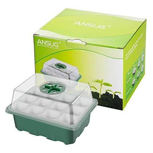 ANSUG 10 Stück Mini Gewächshaus Anzuchtset Anzucht Set, Anzuchtschale mit Deckel und Belüftung Gewächshaus-Zuchtschalen Keimkästen für den Keimungsanbau (12 Zellen pro Schale)
