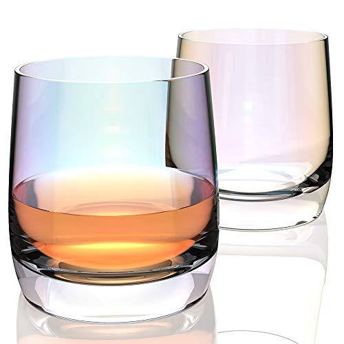 Amesser Whiskey Glasses Old Fashioned 11  Ounce Set of 2 Lead·Free Handblown Crystal Whisky Tumbler for Bourbon Scotch Liquor Irish Vodka CognacWine HW007 Loop Iridescent