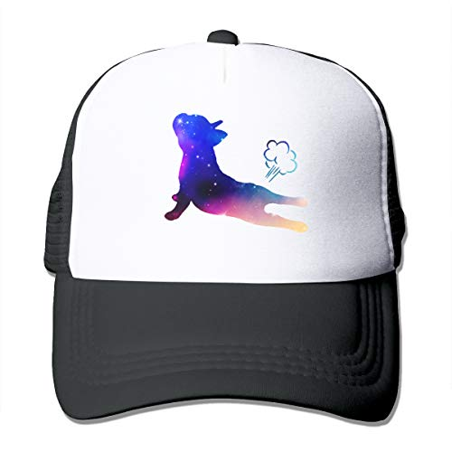 Women's Summer Mesh Baseball Cap Funny French Bulldog Yoga Exhale Sun Hat Black