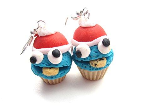Winter Monster mit Keks Törtchen Ohrringe Ohrschmuck handmade