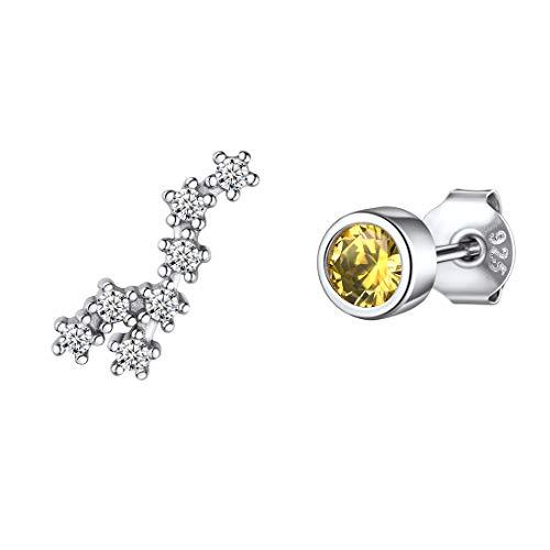 ChicSilver Mädchen Ohrringe aus 925 Damen Schmuck Ohrringe in Löwe Sternbild Design Ohrstecker mit Citrin Stein mit Schmuckbox