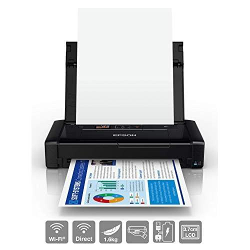 Epson Workforce Wf-110W, Stampante A4 Portatile Inkjet, Connettività Wi-Fi e Wi-Fi Direct, Batteria Integrata, Nero