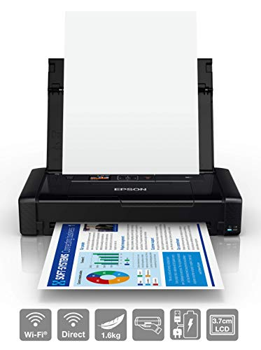 Epson Workforce Wf-110W, Stampante A4 Portatile Inkjet, Connettività Wi-Fi e Wi-Fi Direct, Batteria Integrata, Nero