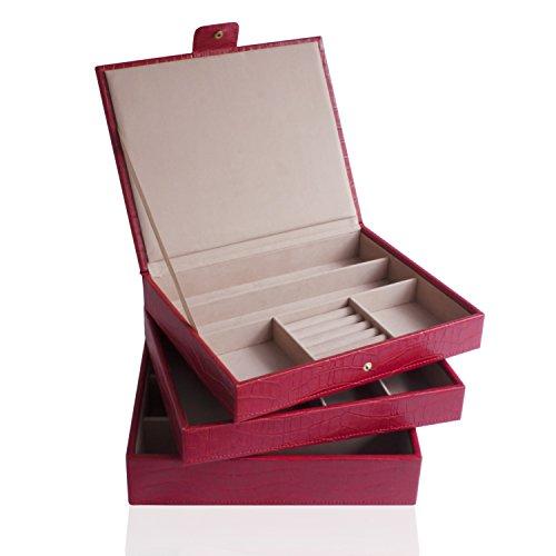 CORDAYS - Joyero Apilable Artesanal: Set de Tres bandejas apilables Edición Limitada Colección de Moda. Rojo CDL-10062