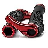 TUSANKE Puños Bicicleta,Puños Bicicleta Ergonomicos,Puños Scooter Montaña Bici MTB Mangos de Goma Antideslizantes,con Extremos de Cuernos,Adecuado para Manillar de Bicicleta de 2,2-2,5 cm (Rojo)