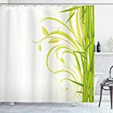 ABAKUHAUS Grün Duschvorhang, Feng Shui Asian Garden, Klare Farben aus Stoff inkl.12 Haken Farbfest Schimmel & Wasser Resistent, 175 x 200 cm, Lime Grün Hellgrün Weiß