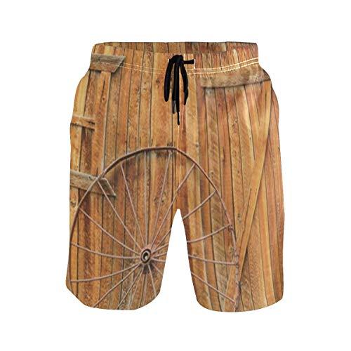 LISNIANY Bañador Hombre,Rueda Antigua de Puerta de Madera Vintage,Natación Secado Rápido Malla Pantalones Imprimiendo Cortos(XXL)