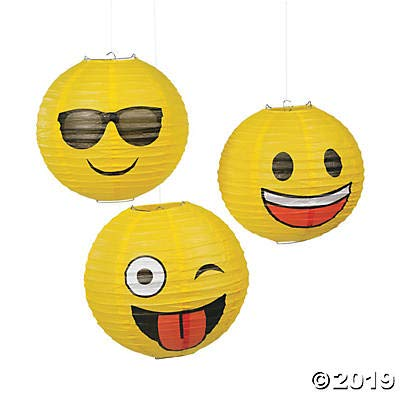 Emoji Paper Lanterns - Emoji Party Supplies - 3 Hanging Lanterns