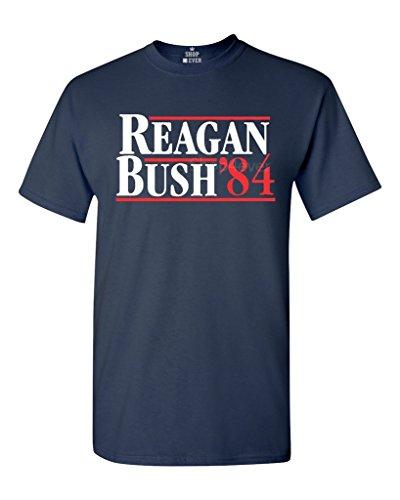 shop4ever Reagan Bush 84 T-Shirt Presidential Campaign Shirts Large Navy 0
