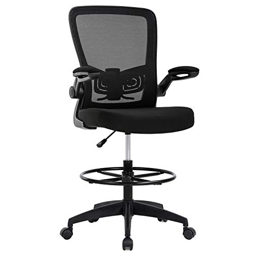Drafting Chair Tall Office Chair Adjustable Height with Lumbar Support Flip Up Arms Footrest Mid Back Task Mesh Desk Chair Computer Chair Drafting Stool for Standing Desk, Black