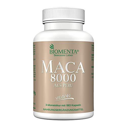 BIOMENTA Maca hochdosiert 8000 aus Peru - 180 Maca Kapseln - 3 Monatskur – Vegan - Pures Maca Extrakt aus Maca Pulver