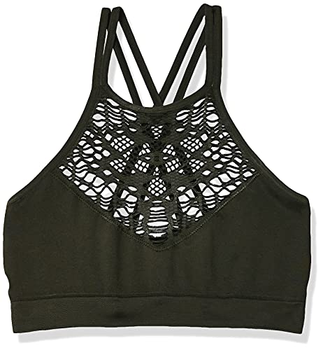 Amazon Brand - Mae Women's Hi-Neck Bralette with Cutouts (for A-C cups),Duffel Green,Large