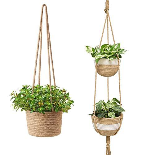 Mkono Jute Rope Hanging Planter Woven Plant Basket Indoor Macrame Plant Hangers,1 Tier & 2 Tier