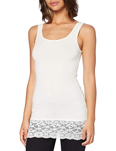 ONLY Damen Onllive Love Long LACE Tank TOP RPT T-Shirt, Cloud Dancer, M