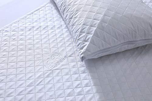 ELAFY Fundas de almohada acolchadas de lujo – Protector de almohada impermeable y transpirable con cremallera, antialérgico, color blanco, 2 unidades