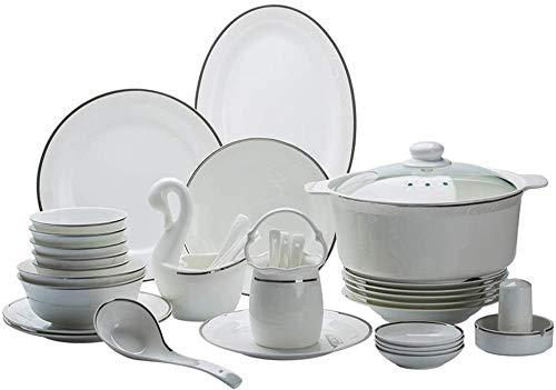 ZHEYANG Dinner Plates Plates Set Plates 58 Pcs Ceramics Dinner Sets Dinnerware Set Emboss Silver Edge Pattern Combination Tableware Set As Gift Dinnerware Dinner Sets Model:G0610