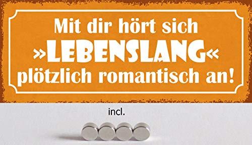 Generisch metalen bord 27 x 10 cm gewelfd incl. 4 magneten met jou hoor je levenslang romantisch aan een spreuk.