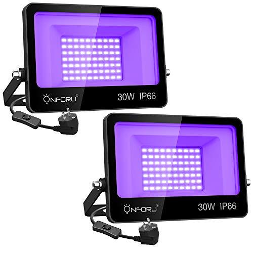 Onforu Lot de 2 Projecteur UV LED 30W, Lumière Noire IP66 Im