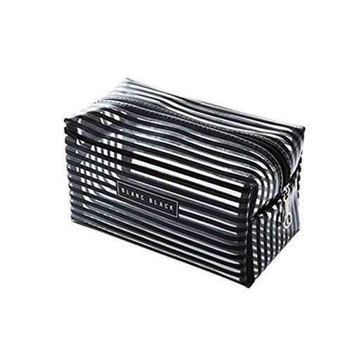 Zhoudashu Portable Imperméable À L'Eau Transparent Sac De Maquillage Fashion Striped Zipper Cosmetic Storage Bag Lady Travel Wash Bag 19 * 10 * 11Cm Noir
