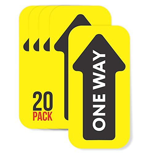 One Way Enter Arrow for Carpet, Directional Stickers, Floor Decals for Social Distancing (20 Pack) (Yellow (for Carpet, 20 Pack))