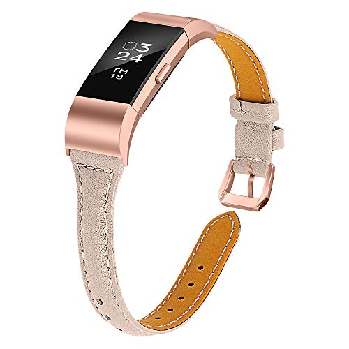 Joyozy Leather Band Compatible with Fitbit Charge 2 Replacement Bands,Slim Classic Genuine Leather Wristband Fitness Strap Women(Beige with Rosegold Buckle)