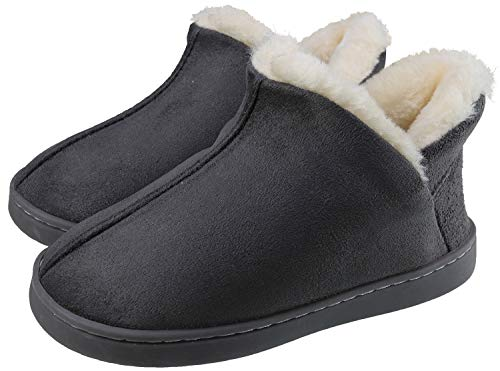 ChayChax Kids Indoor Outdoor Slippers Micro Suede House Shoes Boys Girls Winter Warm Fluffy Plush Slipper Boots with Anti-Slip Sole, Grey, 11.5-12 Little Kid
