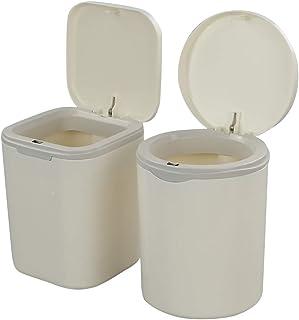 Dynko Paquet de 2 Mini Poubelle de Table Bureau, Poubelle Plastique avec Couvercle (Blanc)