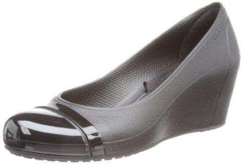 Crocs Cap Toe Wedge 12299-060-413, Damen Pumps, Schwarz (Black/Black), 34-35 EU / 5 US