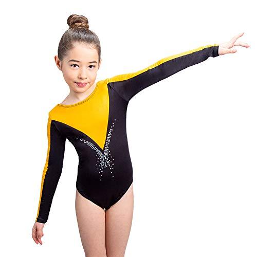Siegertreppchen Maillot de Gimnasia para niñas Talla 116 Traje de Gimnasia de Manga Larga FLEURIE para Gimnasia, Fitness y Baile en Oro