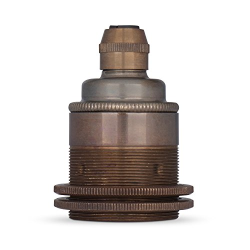 Vintage Gewindemantel Lampenfassung E27 aus Messing (inkl. 2x Schraubringen) - Das Original aus Europa - Old English Finish