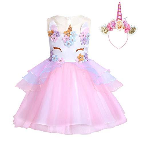 FONLAM Vestido de Fiesta Princesa Niña Bebé Disfraz de Unicornio Ceremonia Cumpleaños Vestido Infantil Flores Carnaval Niña Cosplay (Rosa, 4 Años)