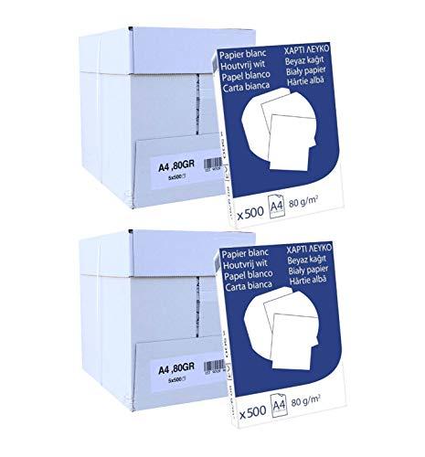 Pack 5000 Folios Papel A4 80gr Blanco. Valido para todas las impresoras y fotocopiadoras.