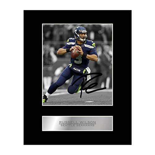 Russell Wilson Signiertes Foto mit Passepartout, Seattle Seahawks NFL Autogramm, Geschenk
