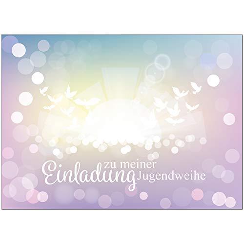 15 x Einladungskarten zur Jugendweihe mit Umschlag/Für Mädchen Rosa/Jugendweihekarten/Einladungen zur Feier