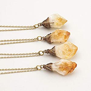 Raw Citrine Crystal Antique Bronze Long Chain Pendant Necklace 24 Inches