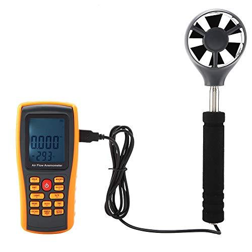 Akozon Digitales Anemometer GM8902 LCD-Display Luftstrom-Windgeschwindigkeitsmesser mit USB-Kabel und gelbem Schutzgehäuse Elektrischer Luftstrom-Anemometer Professionelles Messwerkzeug