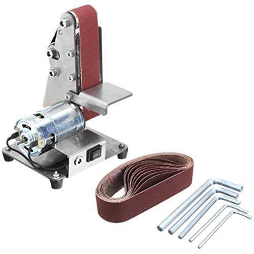 LANGYA Mini Electric Belt Sander Sanding Machine DIY Polishing Grinding Machine Fixed Angle Sharpener Blade Desktop Cutter Trimming Power Tool Ten Belts