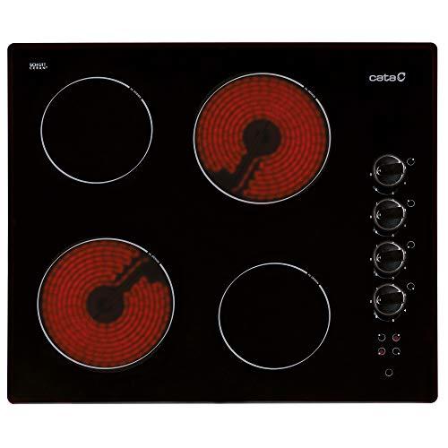 CATA 604 HVI S/M-Placa Vitrocerámica 604Hvis/M con 4 Zonas De Cocción, 6000 W, Cerámico, Negro