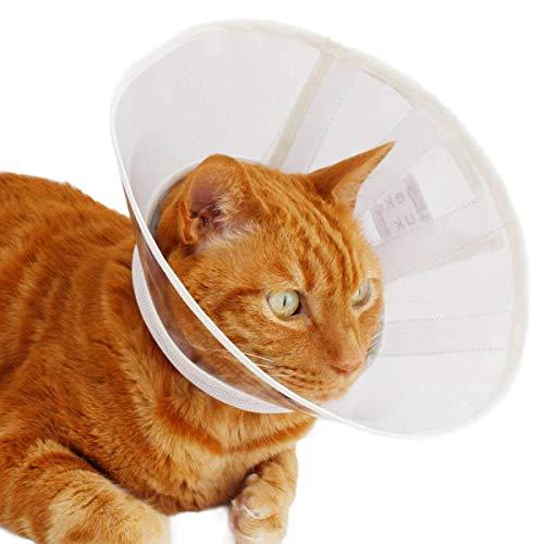 エリザベスカラー 猫 ソフト 柔らかい クリア フェザーカラー 【透明・ソフト】 SSL ストライプ グレー