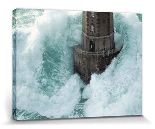 1art1 Leuchttürme - Leuchtturm Im Sturm, La Jument Frankreich Von Jean Guichard Bilder Leinwand-Bild Auf Keilrahmen | XXL-Wandbild Poster Kunstdruck Als Leinwandbild 80 x 60 cm