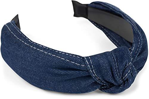 styleBREAKER Fascia per capelli donna in jeans con cuciture decorative e nodo decorativo, look retrò in denim, fascia per capelli, accessori per capelli 04027028, colore:Blu scuro