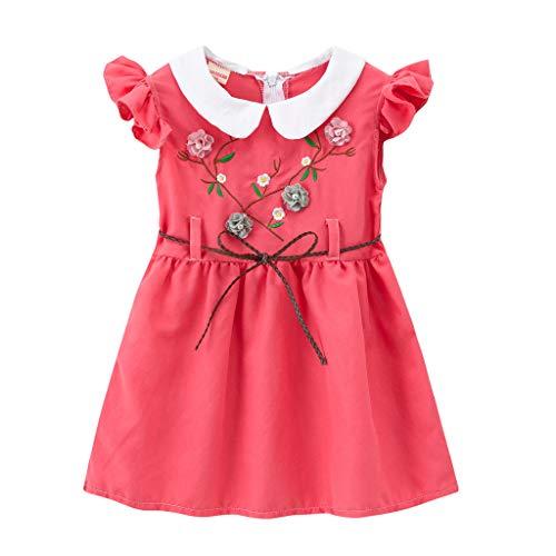 Cover Mädchen Kleider mit Blumenstickerei Peter Pan Kragen Kleid mit Gürtel Sommerkleid