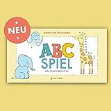 ABC-Spiel mit Tieren und Tiernamen, bestehend aus 52 Karten. Alphabet Memo-Spiel mit Tieren 52-teilig. Gedächtnis Lernspiel für Kinder zum ABC und ... Kinder Legekartenspiel zur Bildpaar Suche