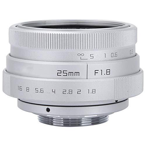 Obiettivo grandangolare Obiettivo Fotocamera 25mm F1.8 Mini CCTV C Mount Lens Obiettivo grandangolare Obiettivo Telecamera CCTV Obiettivo di Montaggio 16mm C per Sony Nikon Canon DSLR(Argento)