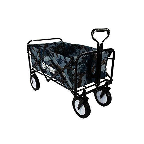 Heavy Duty Foldable Garden Trolley Cart Wagon - Blue Digital Camouflag