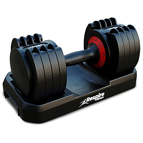 Respire Fitness Adjustable Dumbbells with Smart Quick Locking Cast Iron Plates for Personal Training, Home Gym Workouts, and Progressive Strength Gains, Supports 3kg, 7kg, 11kg, 15kg, and 20kg