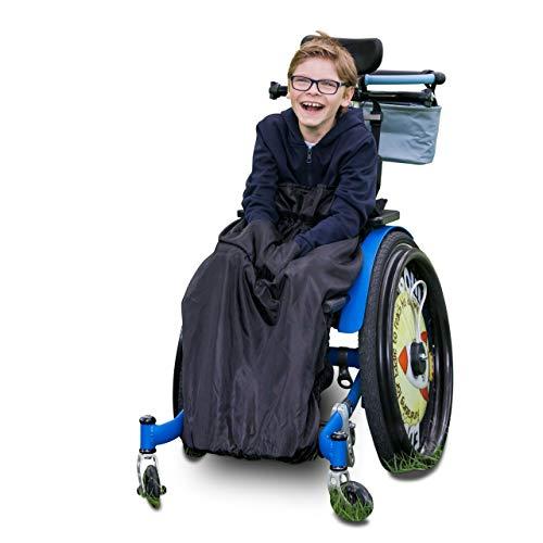 Kinder Fußsack für Rollstühle & Reha-Buggys - einteilig - Schwarz