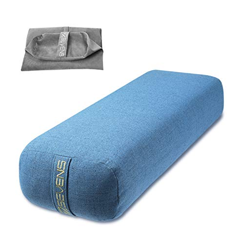 SEVENS Yoga Bolster with 2 Machine Washable Covers Rectangular Portable Yoga Pillow for Meditation and Support Yoga Supportive Bolster for Women and Men Yoga Accessories (Blue+Gray)